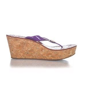 Tory Burch wedge heels cork purple 7.5 sandals